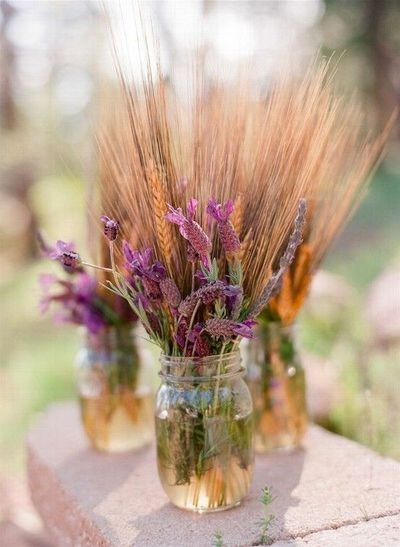 Lavender and Wheat Centerpiece