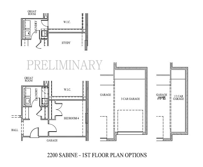 Sabine, Cypress - First Floor Options