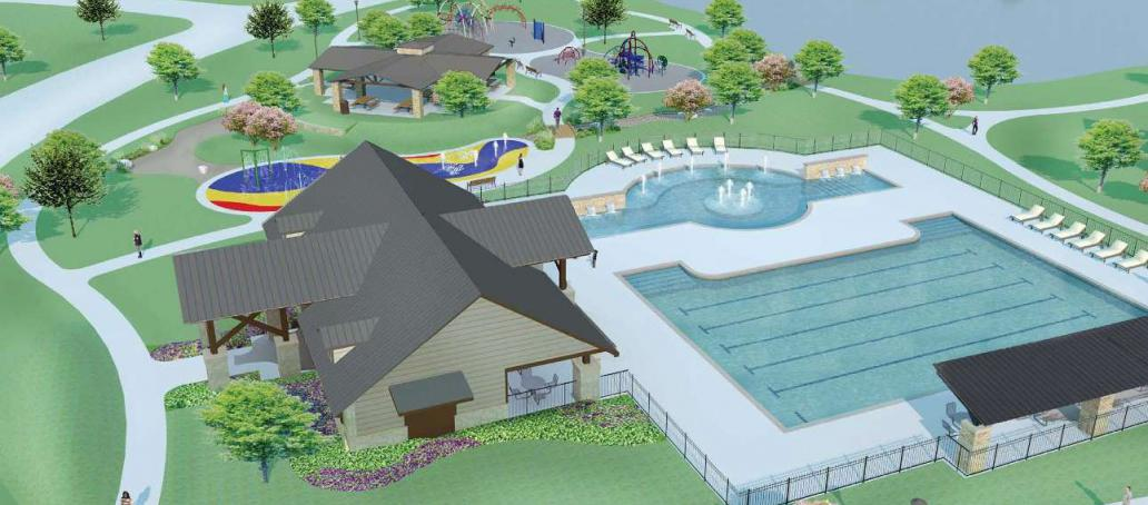 Creekside Ranch 60FT, Houston - Pool & Splash Pad (Artist Rendering)