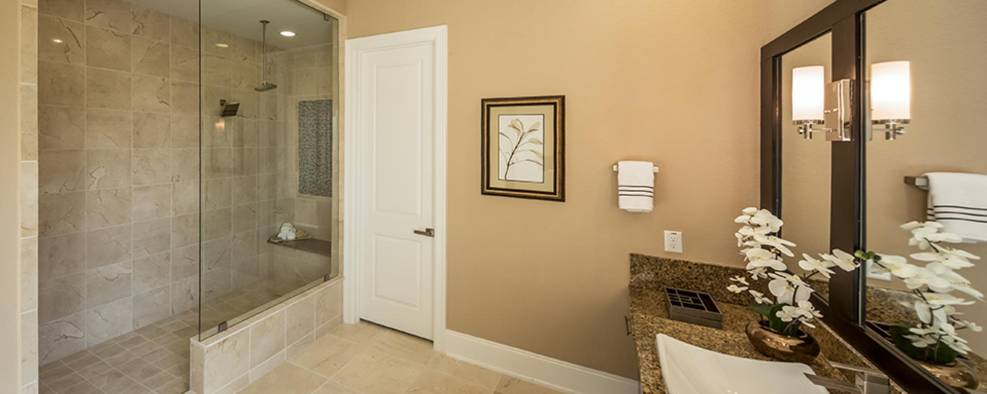 Bellagio new home plan for southern trails 85ft community for Bathroom interior design houston